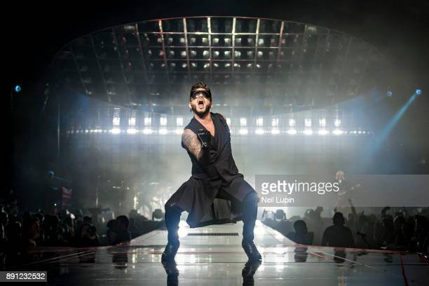 Adam Lambert performs live on stage at The O2 Arena on December 12 2017 in London England