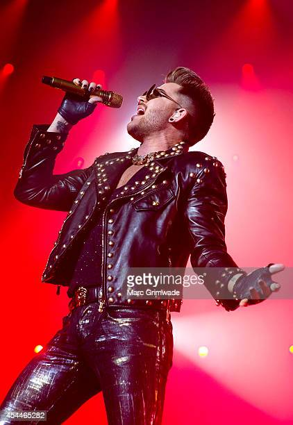 Adam Lambert performs live with Queen at Brisbane Entertainment Centre on September 1, 2014 in Brisbane, Australia.