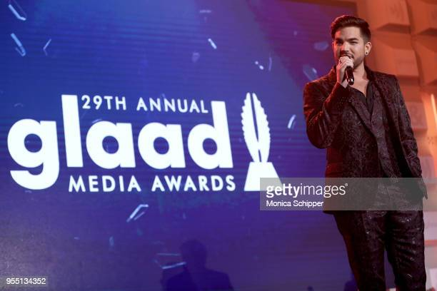 Adam Lambert performs on stage at the 29th Annual GLAAD Media Awards in partnership with longstanding LGBTQ ally KetelOne FamilyMade Vodka on May 5...