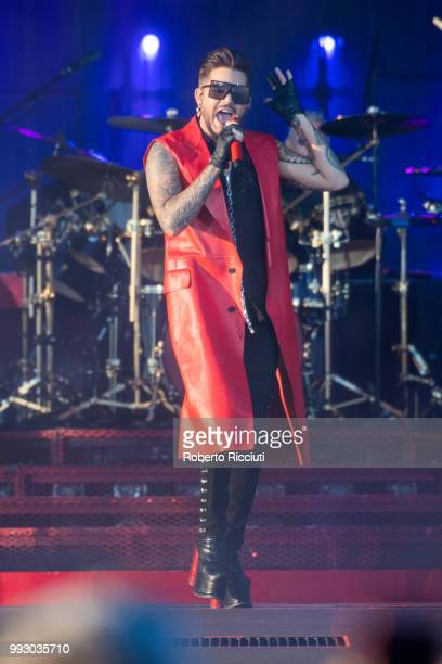 Adam Lambert performs on stage during TRNSMT Festival Day 4 at Glasgow Green on July 6 2018 in Glasgow Scotland
