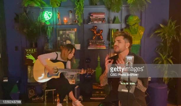 Adam Lambert performs on THE LATE LATE SHOW WITH JAMES CORDEN scheduled to air Wednesday June 10 2020 on the CBS Television Network Image is a screen...