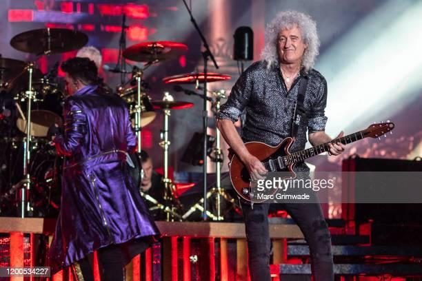 Adam Lambert performs with Brian May of Queen at Suncorp Stadium on February 13 2020 in Brisbane Australia