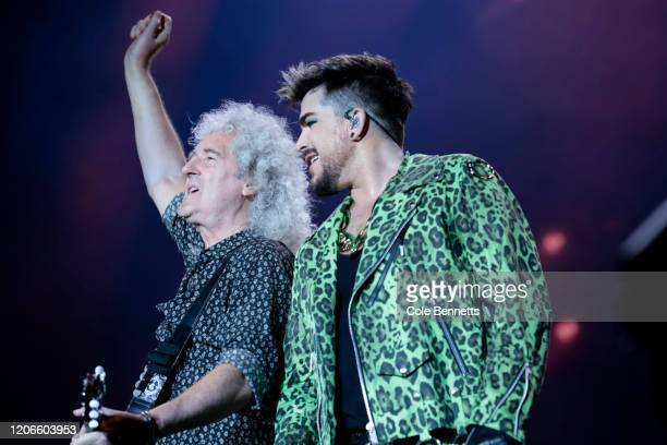 Adam Lambert performs with Brian May of Queen during Fire Fight Australia at ANZ Stadium on February 16 2020 in Sydney Australia