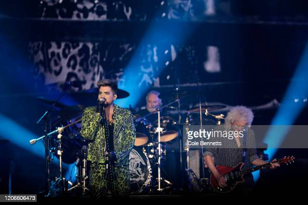 Adam Lambert performs with Brian May of Queen during Fire Fight Australia at ANZ Stadium on February 16, 2020 in Sydney, Australia.