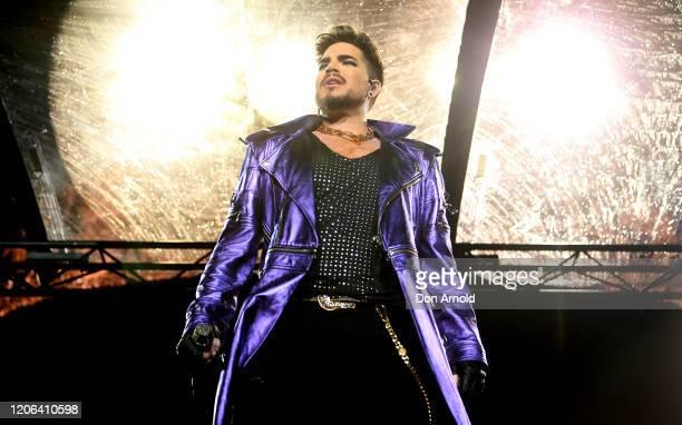 Adam Lambert performs with Queen at ANZ Stadium on February 15 2020 in Sydney Australia