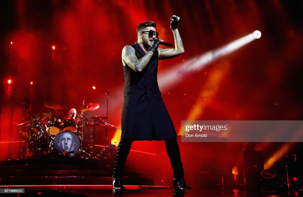 Adam Lambert performs with Queen at Qudos Bank Arena on February 21, 2018 in Sydney, Australia.