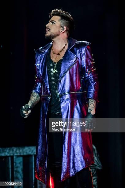 Adam Lambert performs with Queen at Suncorp Stadium on February 13 2020 in Brisbane Australia