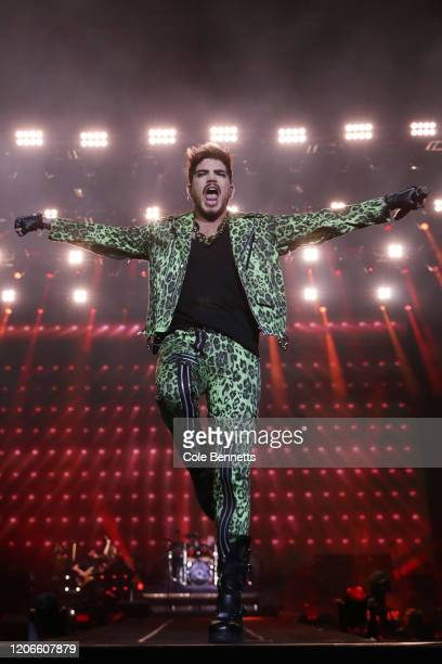Adam Lambert performs with Queen during Fire Fight Australia at ANZ Stadium on February 16 2020 in Sydney Australia
