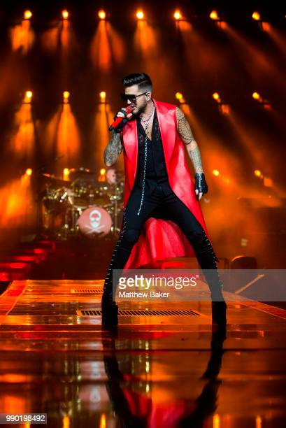 Adam Lambert performs with Queen live on stage at The O2 Arena on July 2 2018 in London England