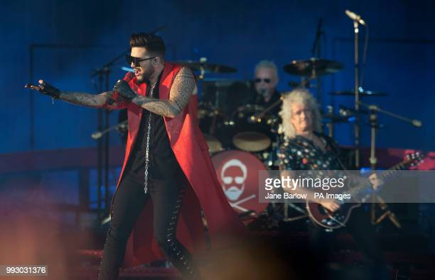 Adam Lambert performs with Queen on the main stage during the TRNSMT Festival on Glasgow Green in Glasgow