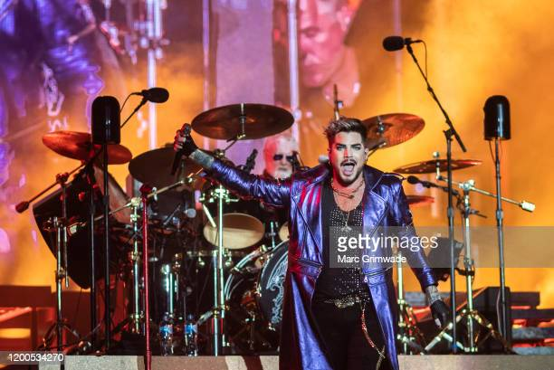Adam Lambert performs with Roger Taylor of Queen at Suncorp Stadium on February 13 2020 in Brisbane Australia