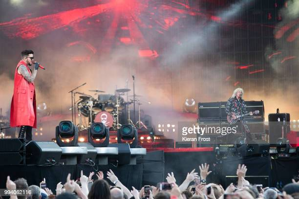 Adam Lambert, Roger Taylor and Brian May of Queen perform at Marlay Park on July 8, 2018 in Dublin, Ireland.