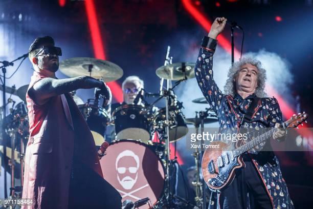 Adam Lambert Roger Taylor and Brian May of Queen perform in concert at Palau Sant Jordi on June 10 2018 in Barcelona Spain