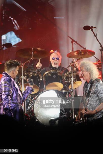 Adam Lambert Roger Taylor and Brian May perform at Mt Smart Stadium on February 07 2020 in Auckland New Zealand