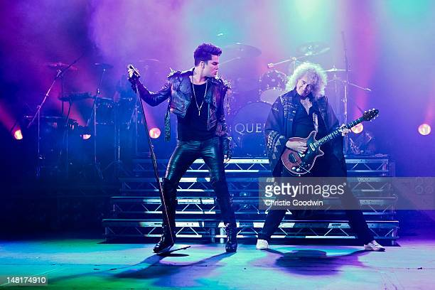 Adam Lambert Roger Taylor and Brian May perform on stage as Queen Adam Lambert at HMV Hammersmith Apollo on July 11 2012 in London United Kingdom