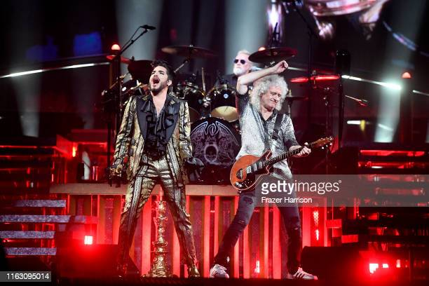 Adam Lambert Roger Taylor Brian May of Queen in concert at The Forum on July 19 2019 in Inglewood California