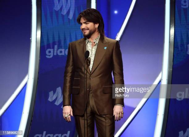 Adam Lambert speaks onstage during the 30th Annual GLAAD Media Awards Los Angeles at The Beverly Hilton Hotel on March 28, 2019 in Beverly Hills,...