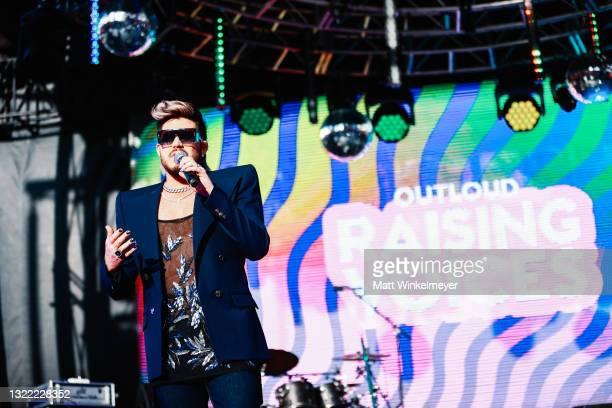 Adam Lambert speaks onstage during the OUTLOUD: Raising Voices Concert Series at Los Angeles Memorial Coliseum on June 06, 2021 in Los Angeles,...