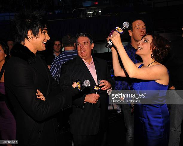 *EXCLUSIVE* Adam Lambert Z100 DJ's Elvis Duran and Danielle Monaro attend Z100's Jingle Ball 2009 presented by HM at Madison Square Garden on...