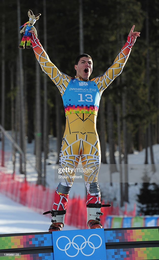 Adam Lamhamedi of Morocco celebrtates after winning the gold medal at the Alpine Skiing Men's Super-G race on January 14, 2012 in Patscherkofel, Austria.