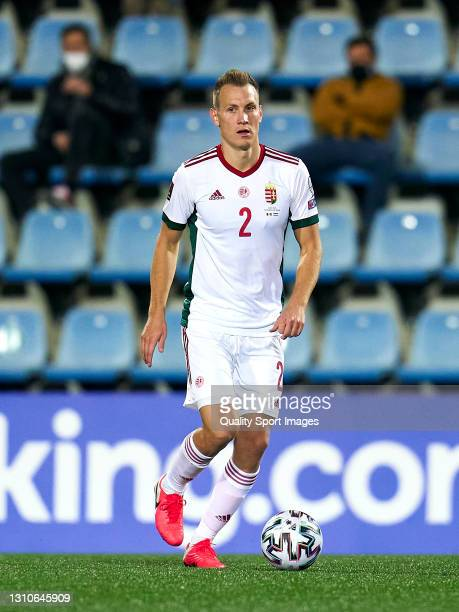Adam Lang of Hungary controls the ball during the FIFA World Cup 2022 Qatar qualifying Group I match between Andorra and Hungary on March 31, at...