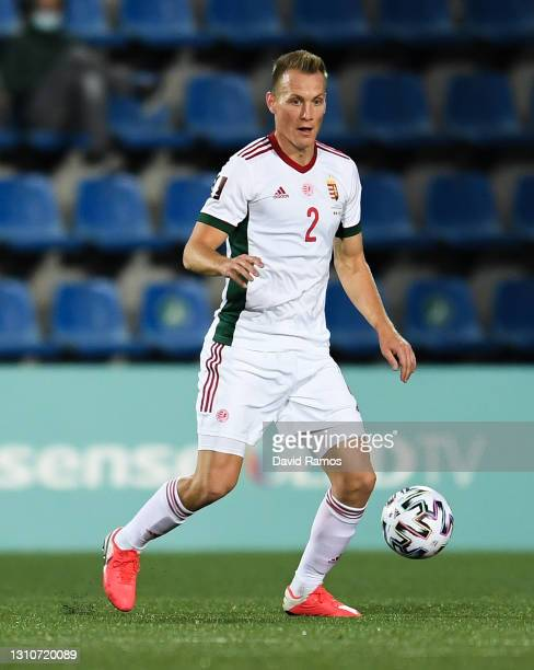 Adam Lang of Hungary runs with the ball during the FIFA World Cup 2022 Qatar qualifying match between Andorra and Hungary at Estadi Nacional on March...