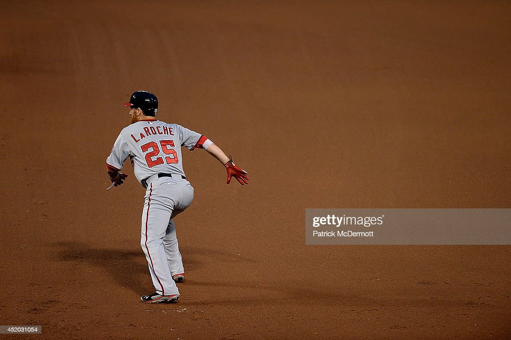 Adam LaRoche #25 of the Washington Nationals in action during a game against the Baltimore Orioles at Oriole Park at Camden Yards on July 10, 2014 in Baltimore, Maryland.