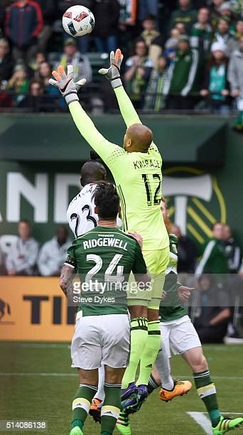 Adam Larsen Kwarasey of Portland Timbers goes up for a ball with Kei Kamara of Columbus Crew during the second half of the game at Providence Park on...