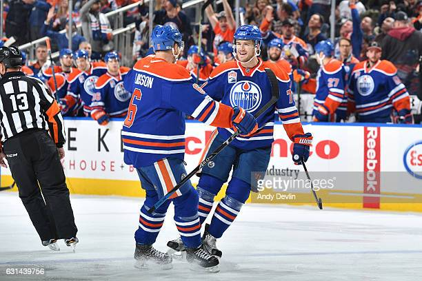 Adam Larsson and Oscar Klefbom of the Edmonton Oilers celebrate after a goal during the game against the San Jose Sharks on January 10 2017 at Rogers...