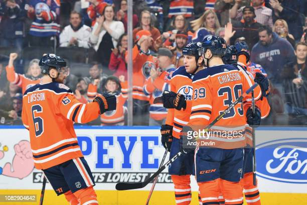 Adam Larsson Milan Lucic Alex Chiasson and Ryan NugentHopkins of the Edmonton Oilers celebrate after a goal during the game against the Buffalo...