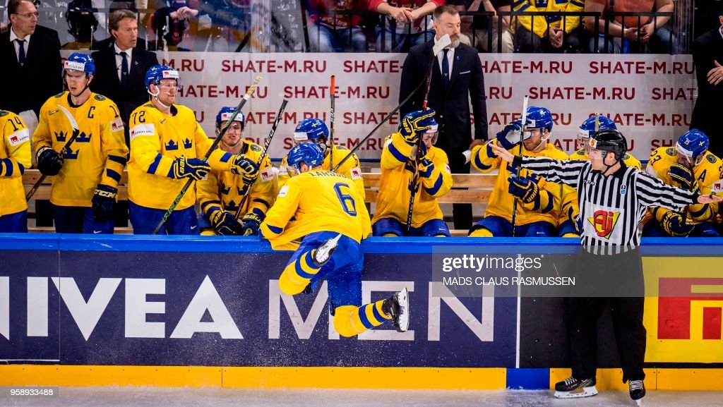 Adam Larsson of Sweden is pictured during the IIHF World Championship group A ice hockey match between Russia and Sweden in Royal Arena in Copenhagen, on May 15, 2018. (Photo by Mads Claus Rasmussen / Ritzau Scanpix / AFP) / Denmark OUT