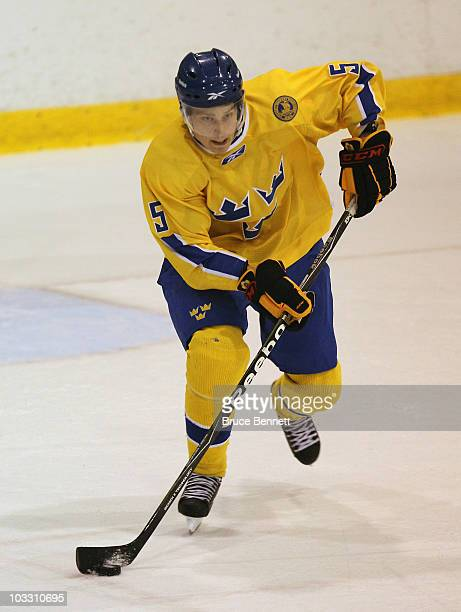 Adam Larsson of Team Sweden skates against Team Finland at the USA Hockey National Evaluation Camp on August 5 2010 in Lake Placid New York