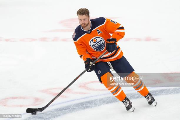 Adam Larsson of the Edmonton Oilers during warm up against the Montreal Canadiens at Rogers Place on November 13 2018 in Edmonton Alberta Canada