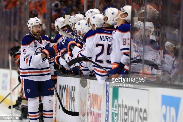 Adam Larsson of the Edmonton Oilers is congratulated by teammates after scoring in the third period in Game One of the Western Conference Second...