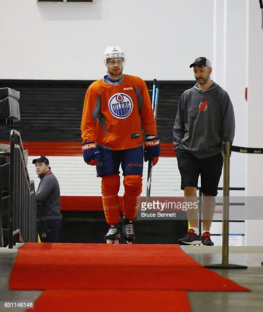 Adam Larsson of the Edmonton Oilers returns to the lockerroom after the morning skate at Prudential Center on January 7 2017 in Newark New Jersey