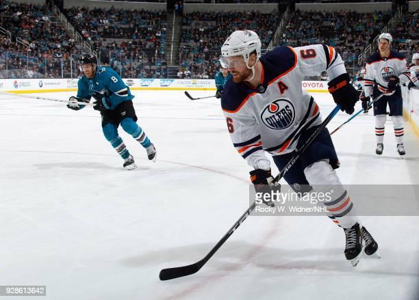 Adam Larsson of the Edmonton Oilers skates against the San Jose Sharks at SAP Center on February 27 2018 in San Jose California