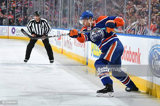 Adam Larsson of the Edmonton Oilers skates during the game against the Dallas Stars on November 11 2016 at Rogers Place in Edmonton Alberta Canada