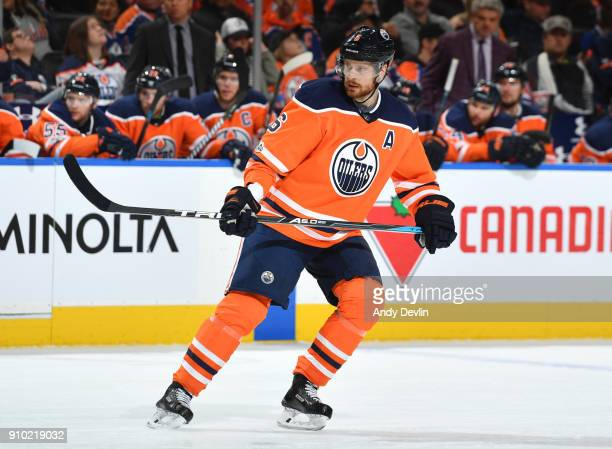 Adam Larsson of the Edmonton Oilers skates during the game against the Arizona Coyotes on November 28 2017 at Rogers Place in Edmonton Alberta Canada