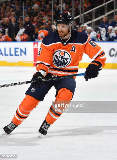 Adam Larsson of the Edmonton Oilers skates during the game against the Vancouver Canucks on January 20 2017 at Rogers Place in Edmonton Alberta Canada