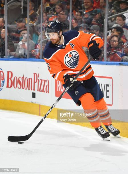 Adam Larsson of the Edmonton Oilers skates during the game against the Boston Bruins on February 20 2018 at Rogers Place in Edmonton Alberta Canada