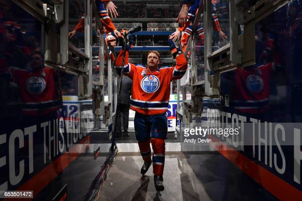 Adam Larsson of the Edmonton Oilers walks to the dressing room prior to the game against the Detroit Red Wings on March 4 2017 at Rogers Place in...
