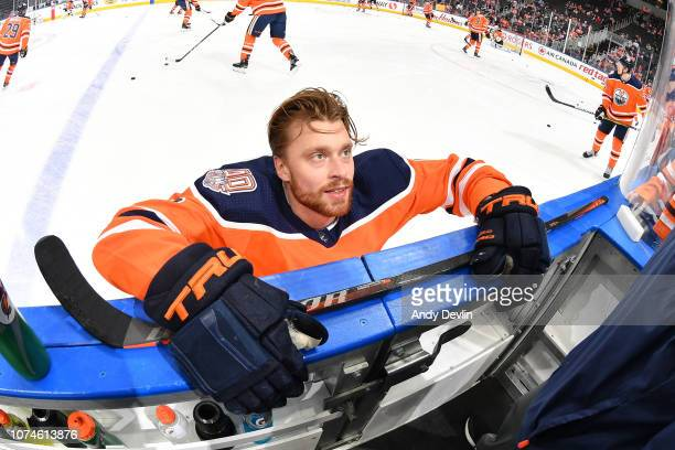 Adam Larsson of the Edmonton Oilers warms up prior to the game against the Tampa Bay Lightning on December 22 2018 at Rogers Place in Edmonton...