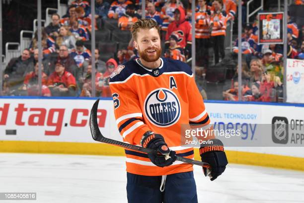 Adam Larsson of the Edmonton Oilers warms up prior to the game against the Calgary Flames on January 19 2019 at Rogers Place in Edmonton Alberta...