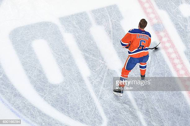 Adam Larsson of the Edmonton Oilers warms up prior to the game against the Tampa Bay Lightning on December 17 2016 at Rogers Place in Edmonton...