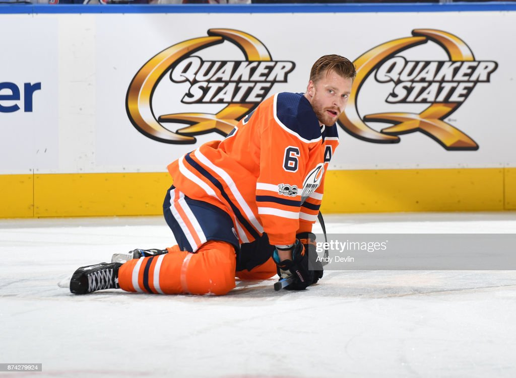 Adam Larsson #6 of the Edmonton Oilers warms up prior to the game against the Vegas Golden Knights on November 14, 2017 at Rogers Place in Edmonton, Alberta, Canada.