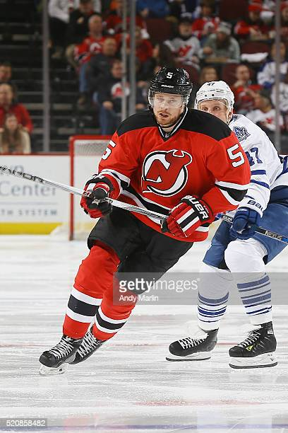 Adam Larsson of the New Jersey Devils skates during the game against the Toronto Maple Leafs at Prudential Center on April 9 2016 in Newark New Jersey