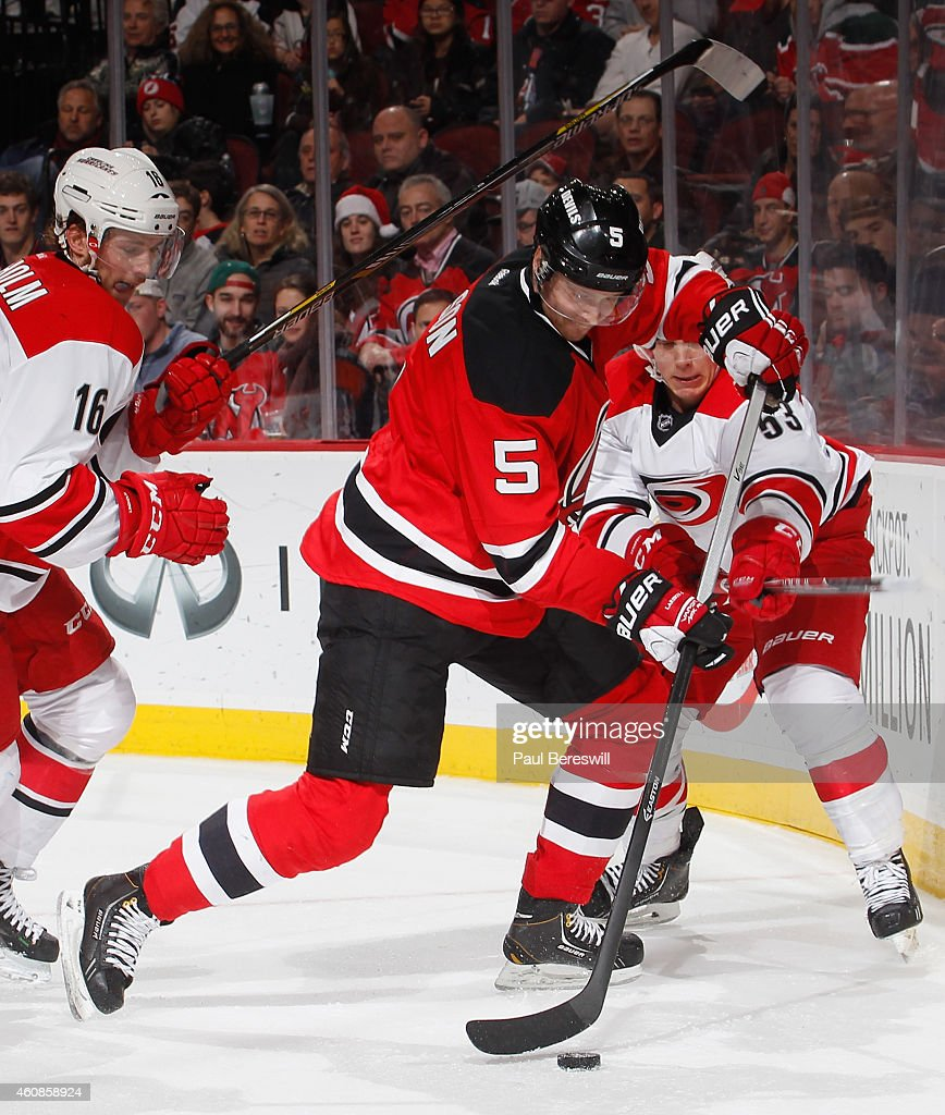 free shipping aa2af 3720e Adam Larsson of the New Jersey Devils skates in an NHL ...
