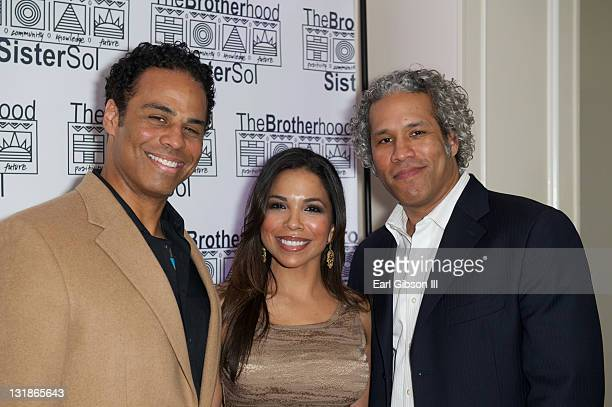Adam LazarreWhite Maya Gilbert and Khary LazarreWhite at The Brotherhood/SisterSol Fundraiser at The Beverly Hilton hotel on March 26 2011 in Beverly...