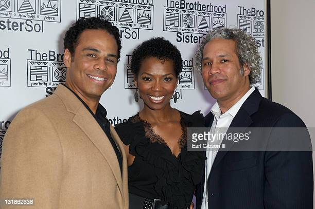 Adam LazarreWhite Vanessa Williams and Khary LazarreWhite at The Brotherhood/SisterSol Fundraiser at The Beverly Hilton hotel on March 26 2011 in...