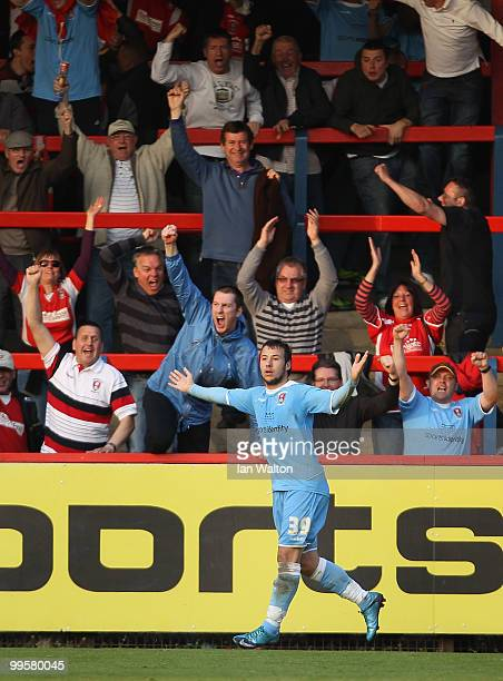 Adam Le Fondre of Rotherham United celebratwa scoring a goal during the League Two Playoff Semi Final 1st Leg match between Aldershot Town and...